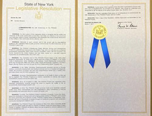 Le Sénat de l'État de New York commémore le 25e anniversaire du PRASAD Project